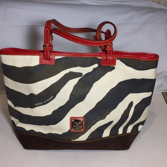 ccd05670f145 Dooney   Bourke Handbags - Dooney   Bourke Canvas and Leather Zebra Tote